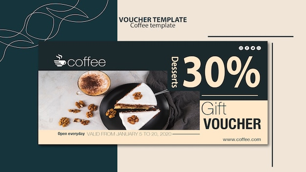 Voucher template theme with coffee Free Psd