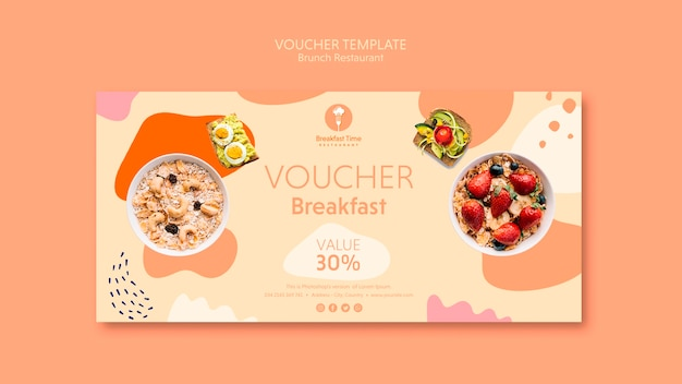 Voucher template with 30% discount Free Psd