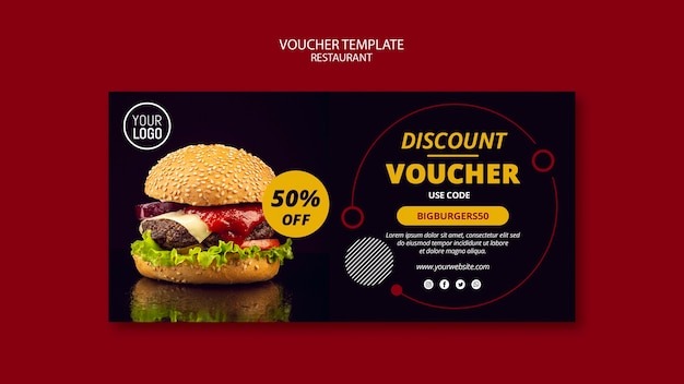 Voucher template with 50% off Free Psd