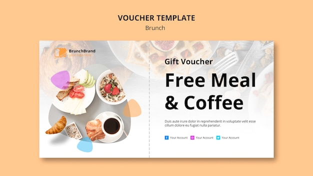 Voucher template with brunch theme Free Psd