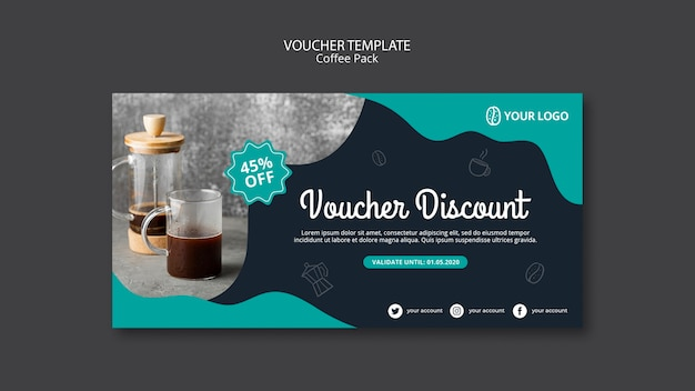 Voucher template with coffee theme Free Psd