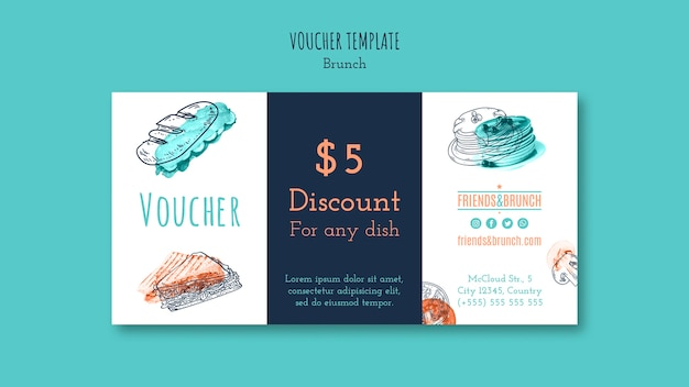 Voucher template with discount for brunch restaurant Free Psd