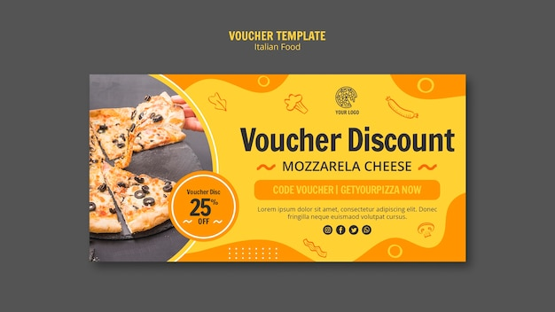 Voucher template with discount for italian food bistro Free Psd