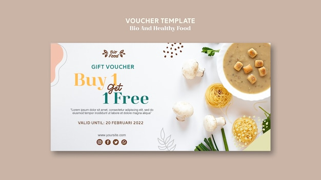 Voucher template with healthy food Free Psd