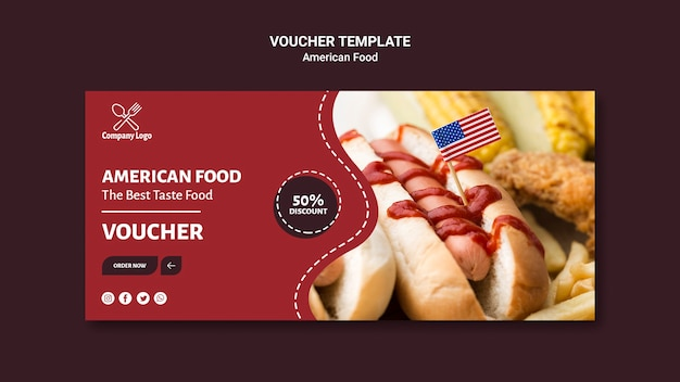 Voucher template with hot dog photo Free Psd