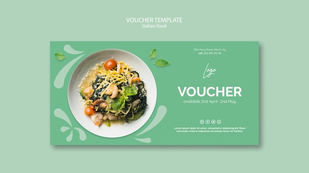 Voucher template with italian food theme Free Psd