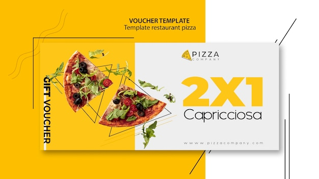 Voucher template with offer for pizza restaurant Free Psd