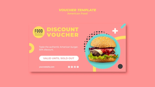 Voucher with discount for american food with burger Free Psd