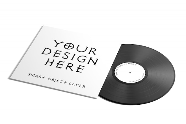 Vynil record label mock up Premium Psd