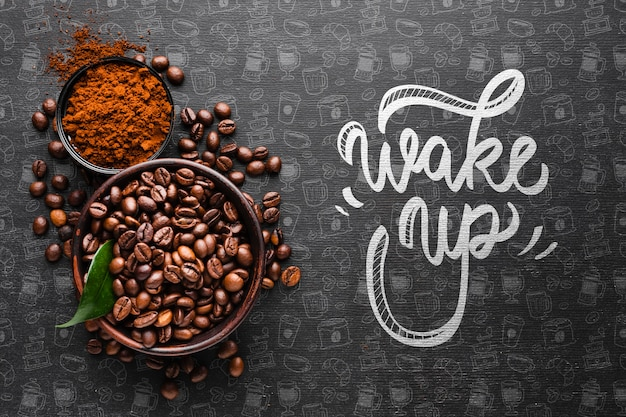 Wake up background with bowl full of coffee beans Free Psd