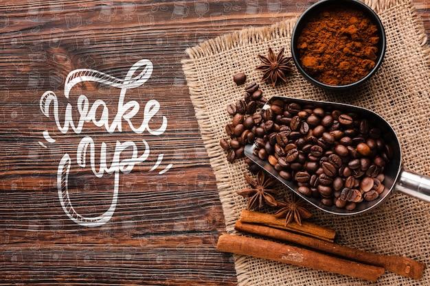Wake up background with coffee stuff Free Psd