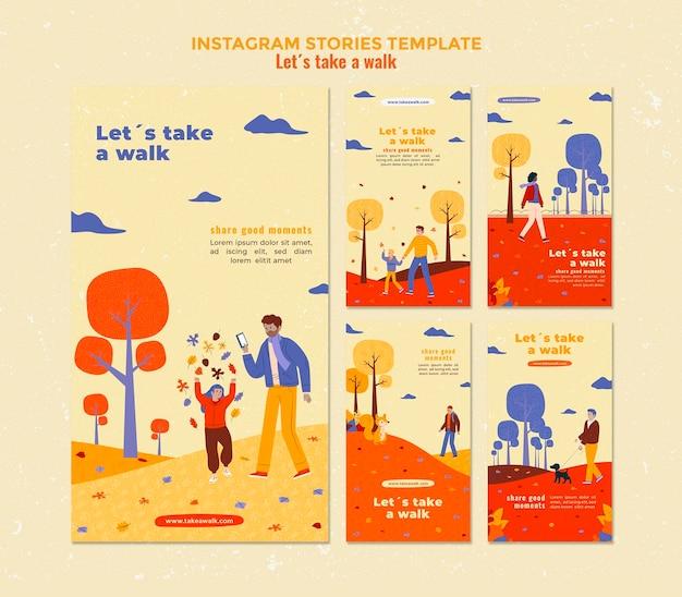 Walk in nature instagram stories template Premium Psd
