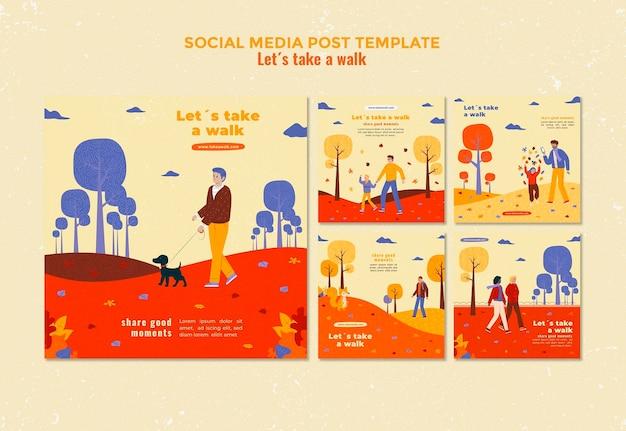 Walk in nature social media post template Free Psd