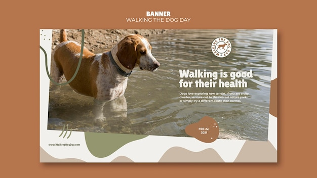 Walking the dog day banner template Psd Gratuite
