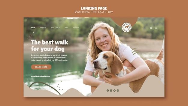 Walking the dog day modello di pagina di destinazione Psd Gratuite