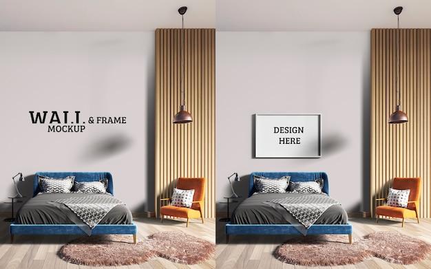 Wall and frame mockup стильная спальня с синей кроватью и оранжевыми стульями Premium Psd