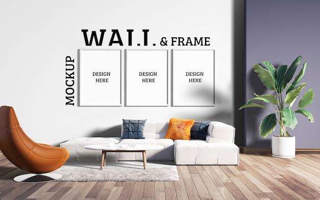 Wall and frame mockup - современная гостиная Premium Psd