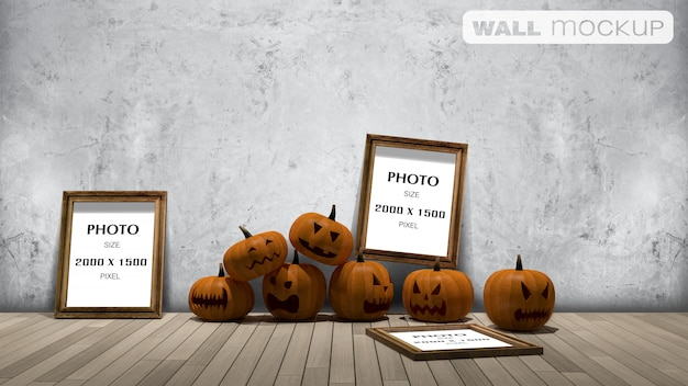 Wall background mockup, 3d rendering image of pumpkin head onthe froor and photo frame on the wall, Premium Psd