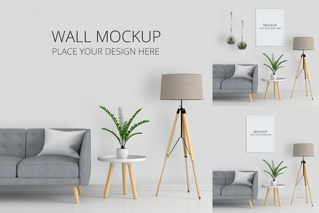 Wall and blank photo frame for mockup in living room Premium Psd