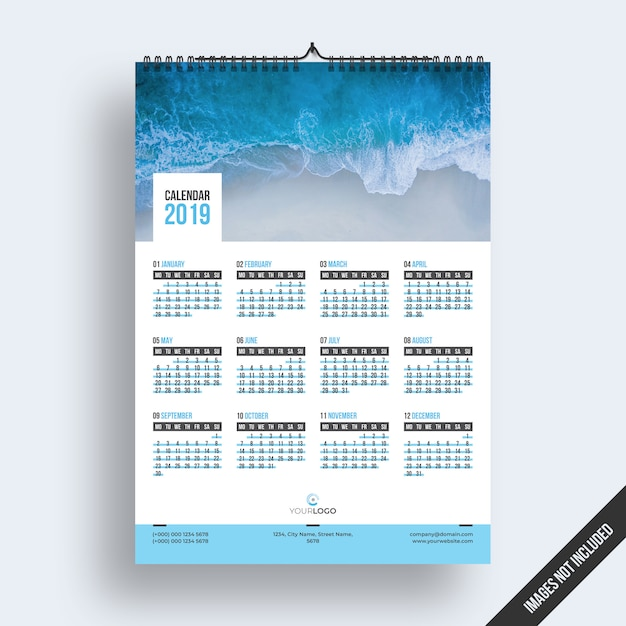 Wall calendar 2019 Premium Psd