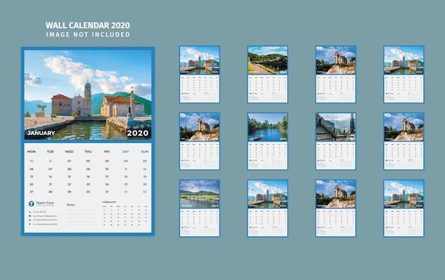 Wall calendar 2020 Premium Psd