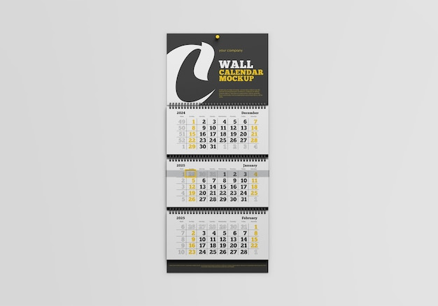 Wall calendar mockup isolated Premium Psd