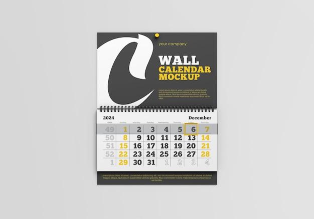 벽 달력 모형 프리미엄 PSD 파일