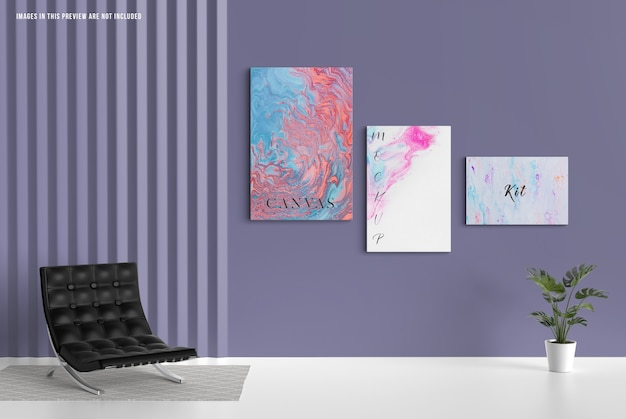 벽 캔버스 모형, 다양한 크기 무료 PSD 파일