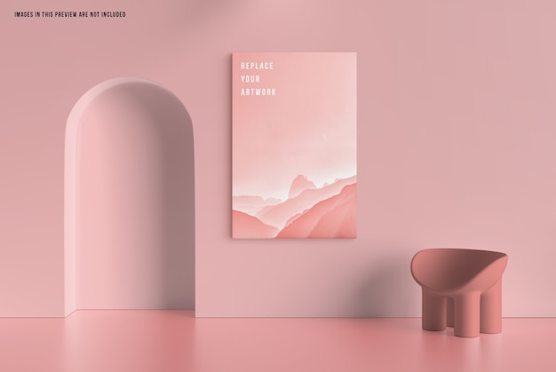 Wall canvas mockup Premium Psd