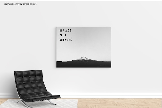 Wall canvas mockup Premium Psd