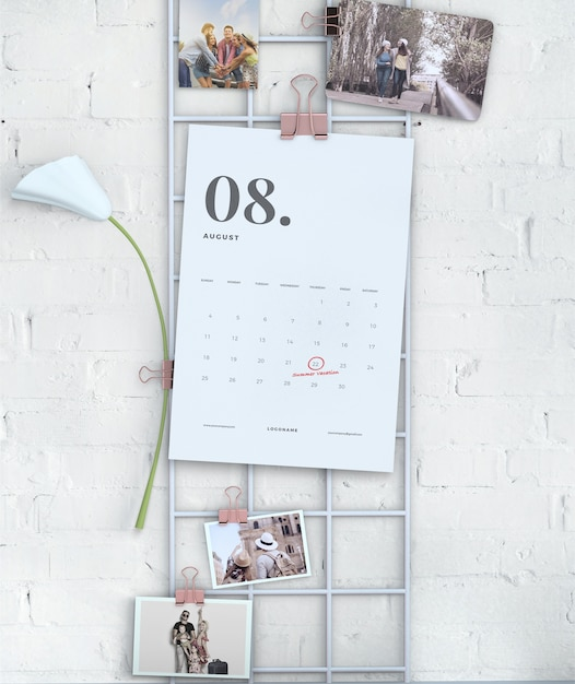 Wall display hanging calendar mock-up Free Psd