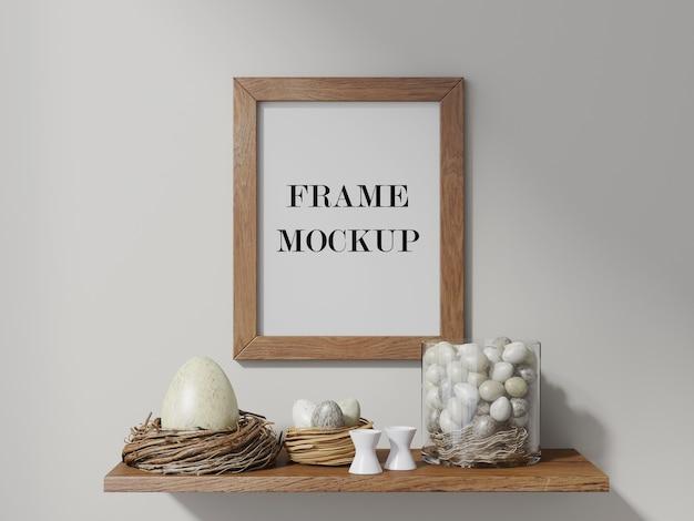 イースターエッグ3dレンダリングモックアップの上の壁フレーム Premium Psd