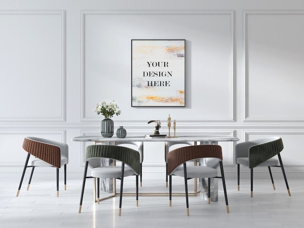 Premium Psd Wall Frame Mockup In Art Deco Style Living Room With Luxury Marble Table And Suede Chairs