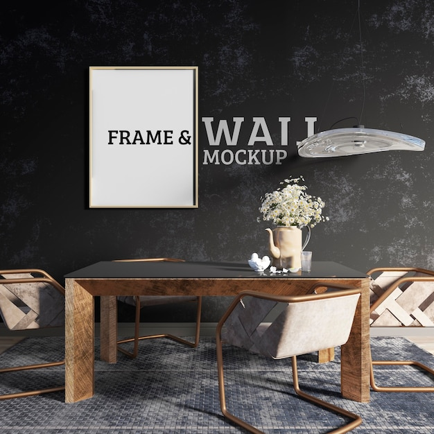 Wall and frame mockup - decorated dining room in industrial style Premium Psd