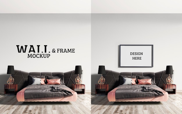 Wall and frame mockup impressive bed with a combination of brown and pink orange Premium Psd