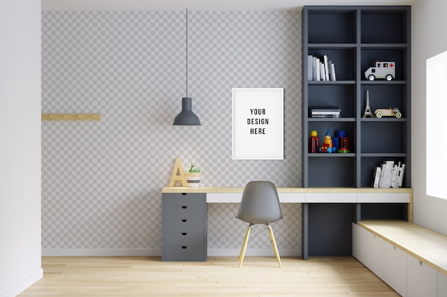 Wall & frame mockup kids bedroom interior with decorations Premium Psd