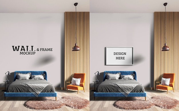 Wall and frame mockup a stylish bedroom with a blue bed and orange chairs Premium Psd