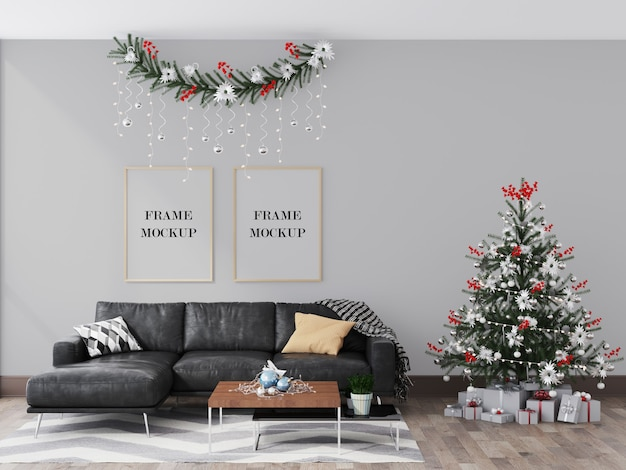 Wall frames mockup in interior with christmas and winter decoration Premium Psd