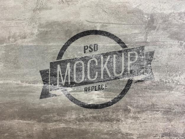Гранж цементный макет логотипа Premium Psd