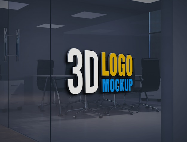 Wall logo mockup, free office glass wall sign logo mockup, office glass room logo mockup Premium Psd
