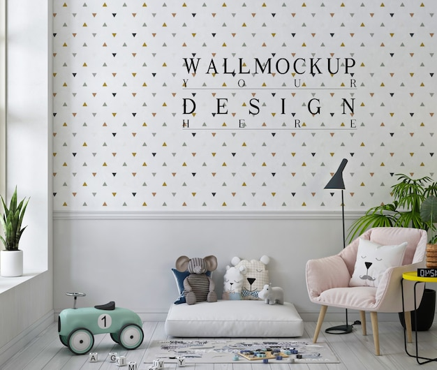 Wall mockup in cute playroom with pink arm chair Premium Psd