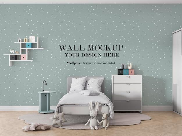 Дизайн макета стены для дизайна детской комнаты Premium Psd