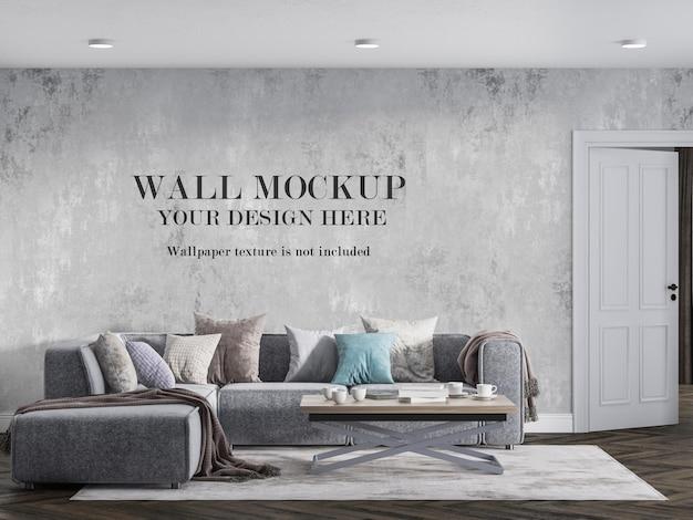 Wall mockup design in modern sitting room Premium Psd