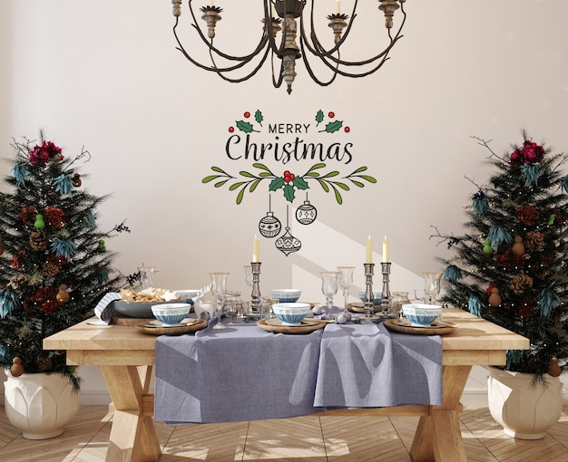 Wall mockup in dinning room with christmas tree Premium Psd