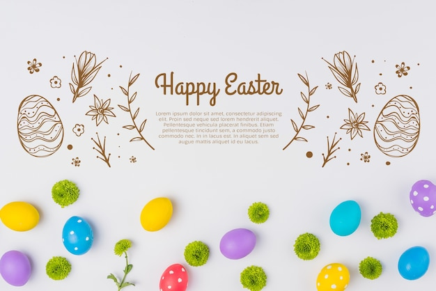 Wall mockup easter concept Free Psd