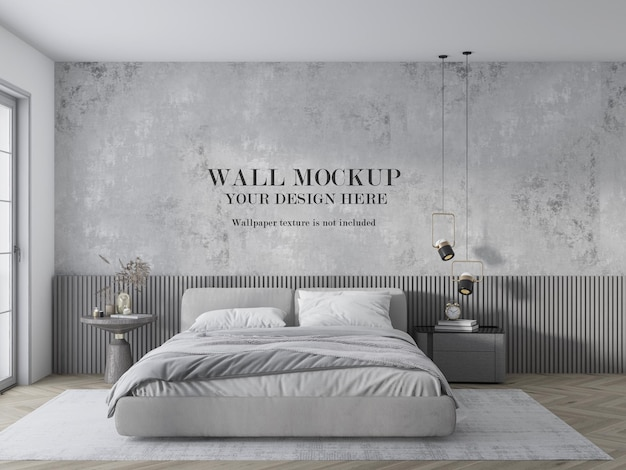 Premium Psd Wall Mockup For Grey Bedroom With Minimalist Furniture