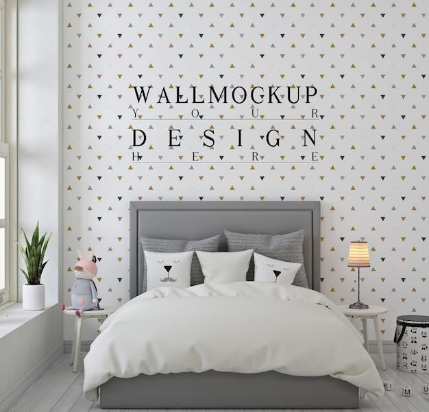 モノクロの子供の寝室の壁のモックアップ Premium Psd