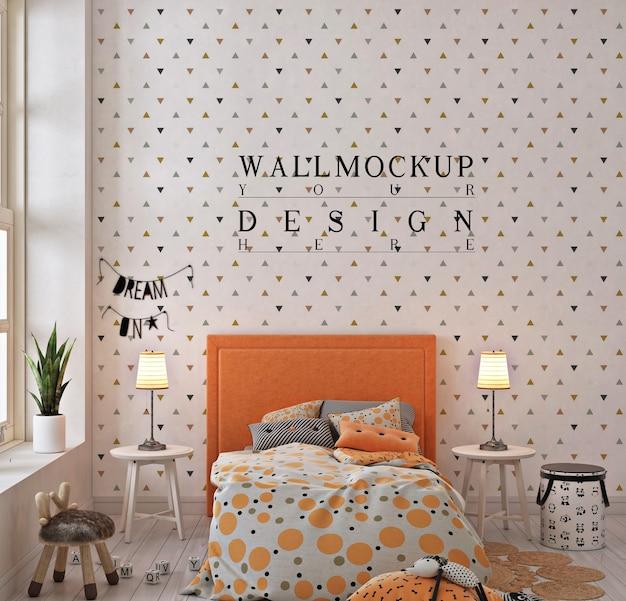 オレンジ色の子供の寝室の壁のモックアップ Premium Psd