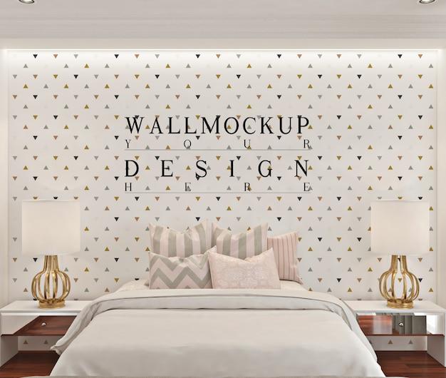 白いモダンなベッドルームの壁のモックアップ Premium Psd
