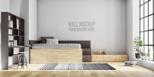 Wall mockup interior kids bedroom with decorations Premium Psd